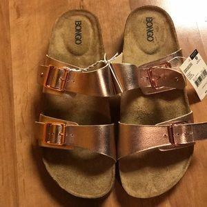 Rose gold bongo sandals